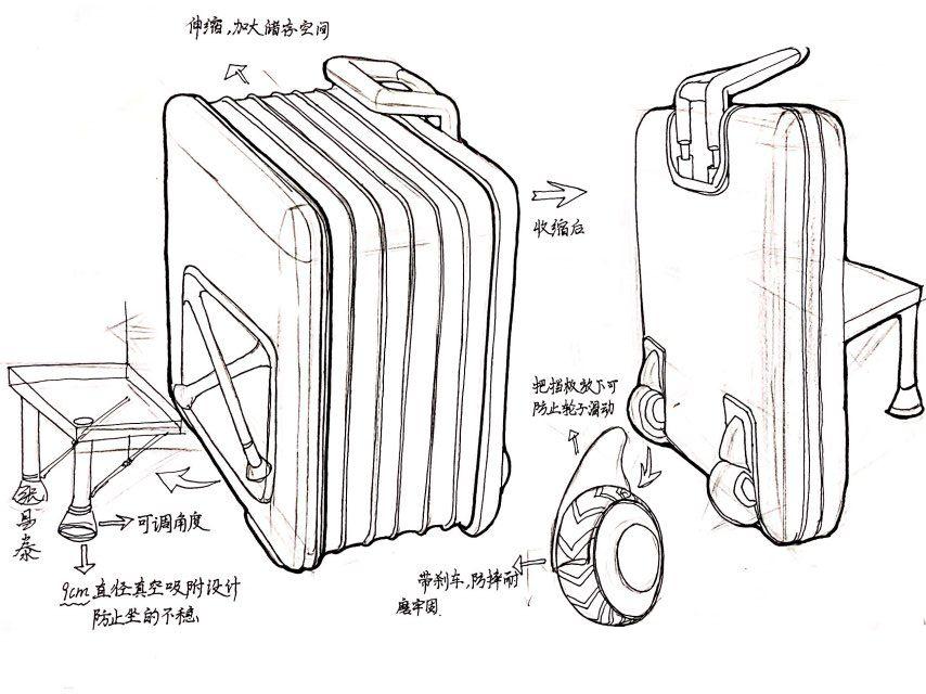 行李箱内部简笔画